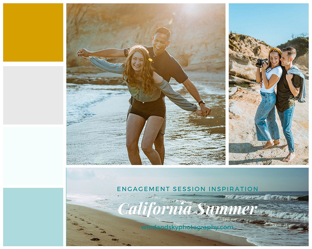 Mood board featuring a warm color pallet and summer outfit inspiration for engagement sessions in beach locations such as Southern California.