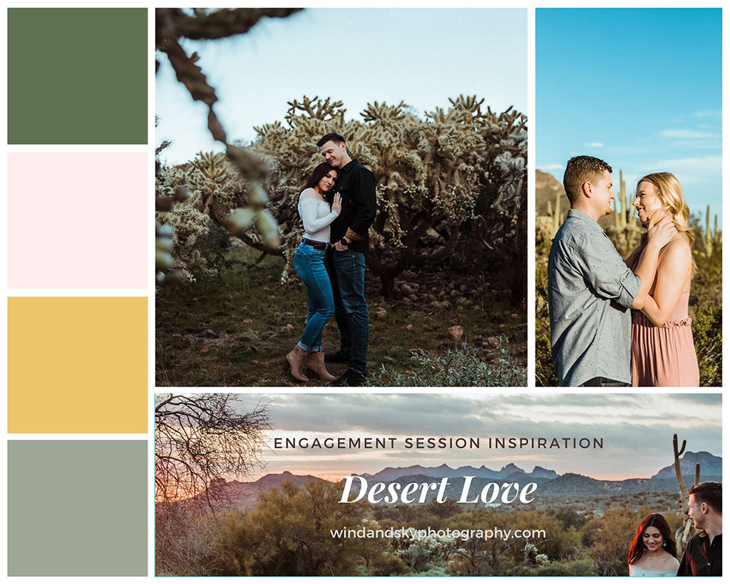 Color pallet and mood board giving inspiration for outfits to wear for a desert engagement session.