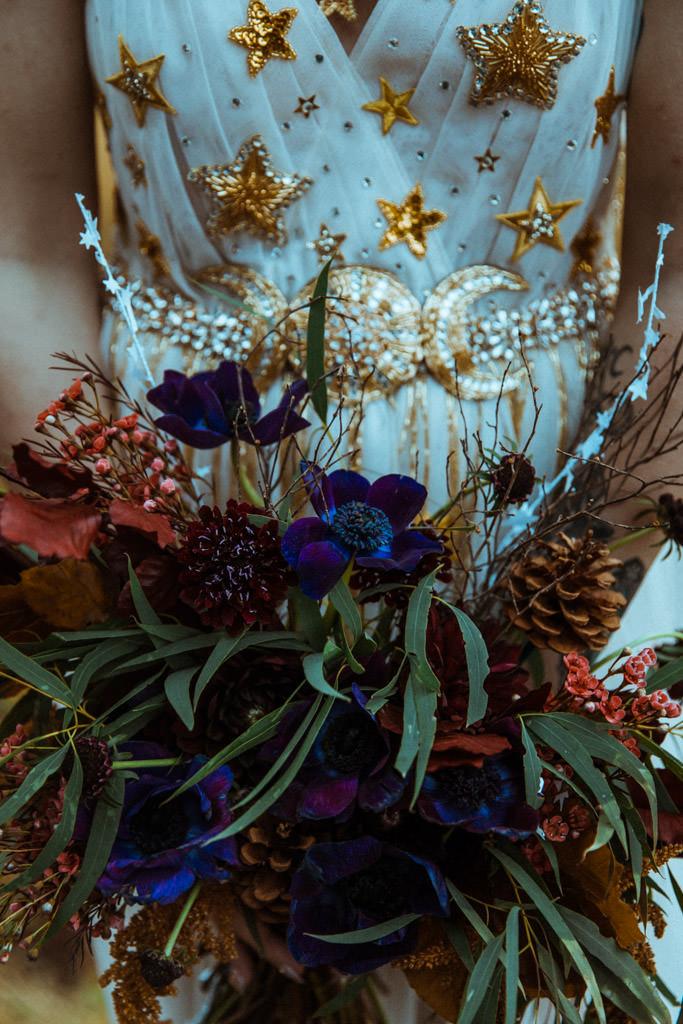 Bridal bouquet for a mountain celestial wedding.