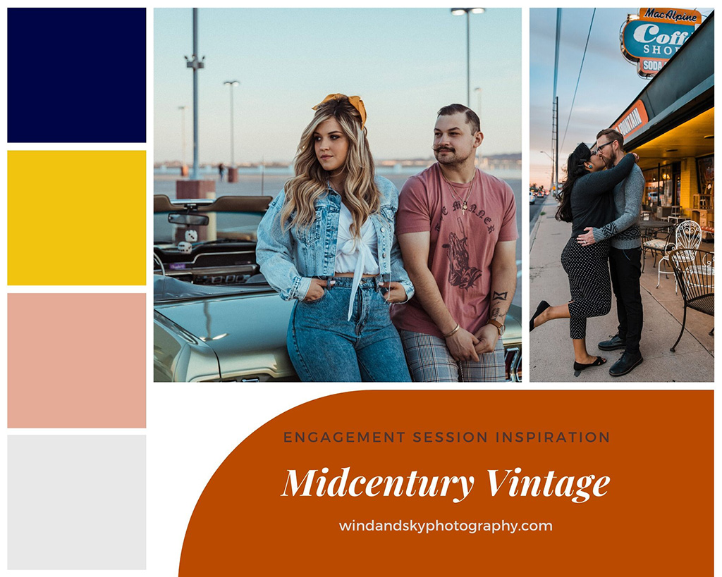 Vintage mid-century inspired color pallet and outfits for engagement sessions.