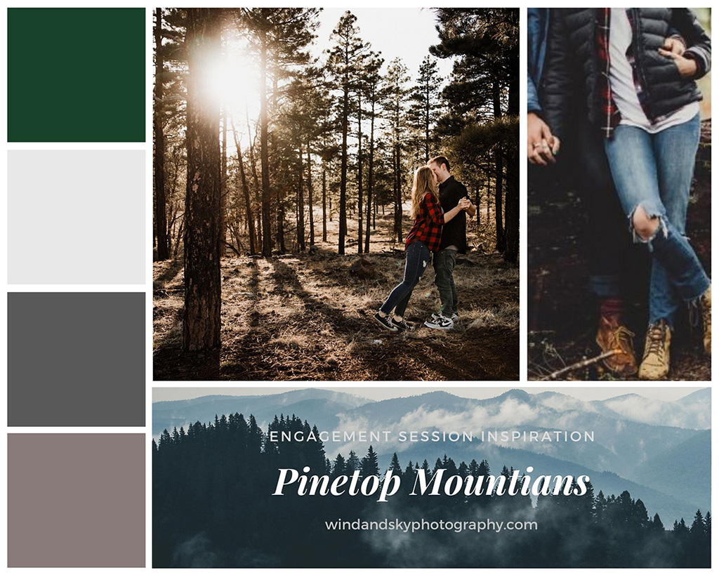 Mood board featuring ideal colors and outfit ideas for a mountain top hiking engagement session among pine trees in locations like Sequoia or Yosemite National Parks.