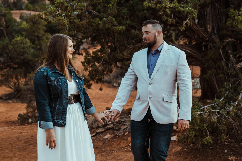 Couple sees each other for the first time on their wedding day before their elopement in Sedona, Arizona.