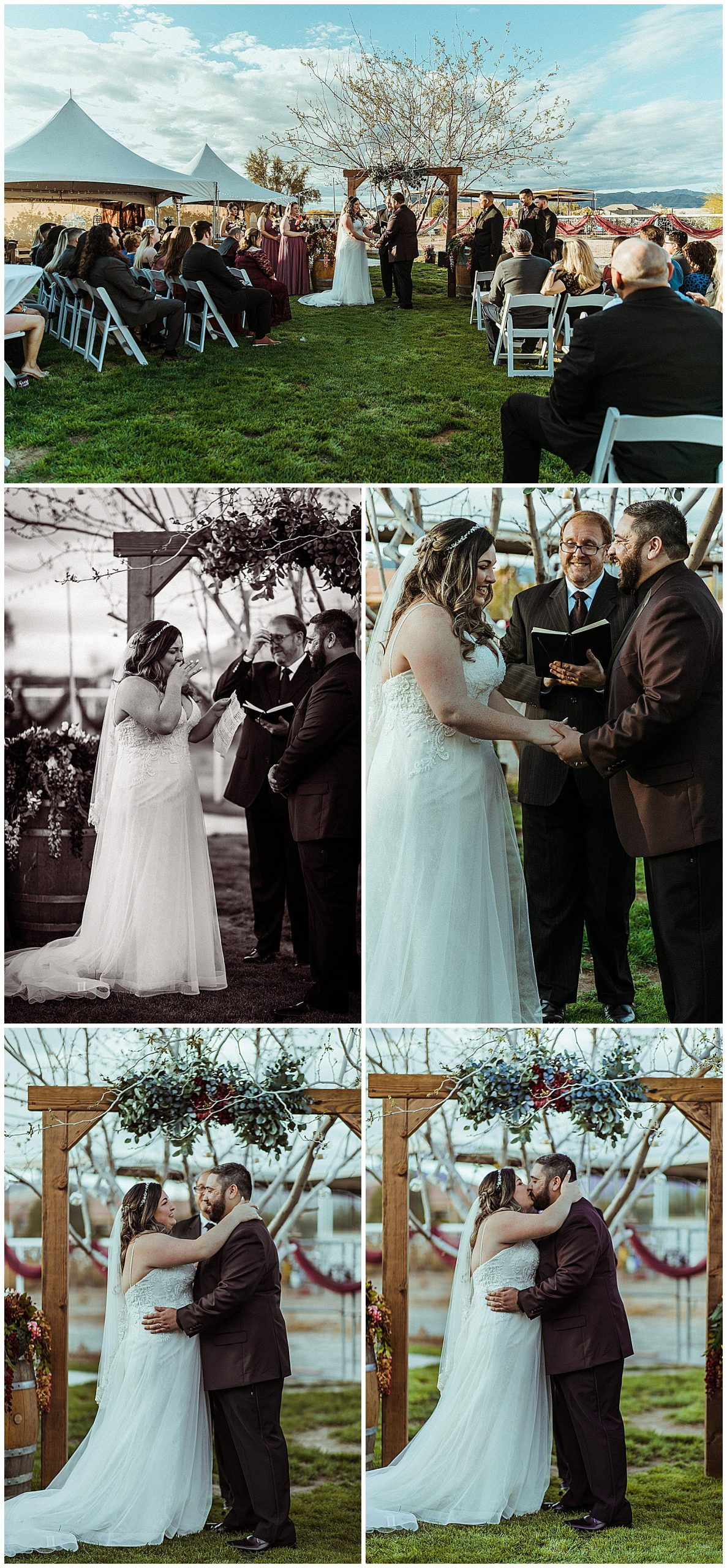 Bride and groom share vows during a small backyard wedding ceremony.